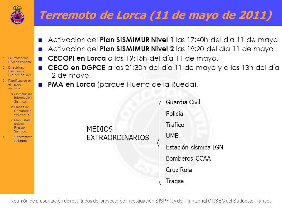 Reunión de presentación de resultados del proyecto de investigación SISPYR y del Plan zonal ORSEC del Sudoeste Francés Terremoto de Lorca (11 de mayo