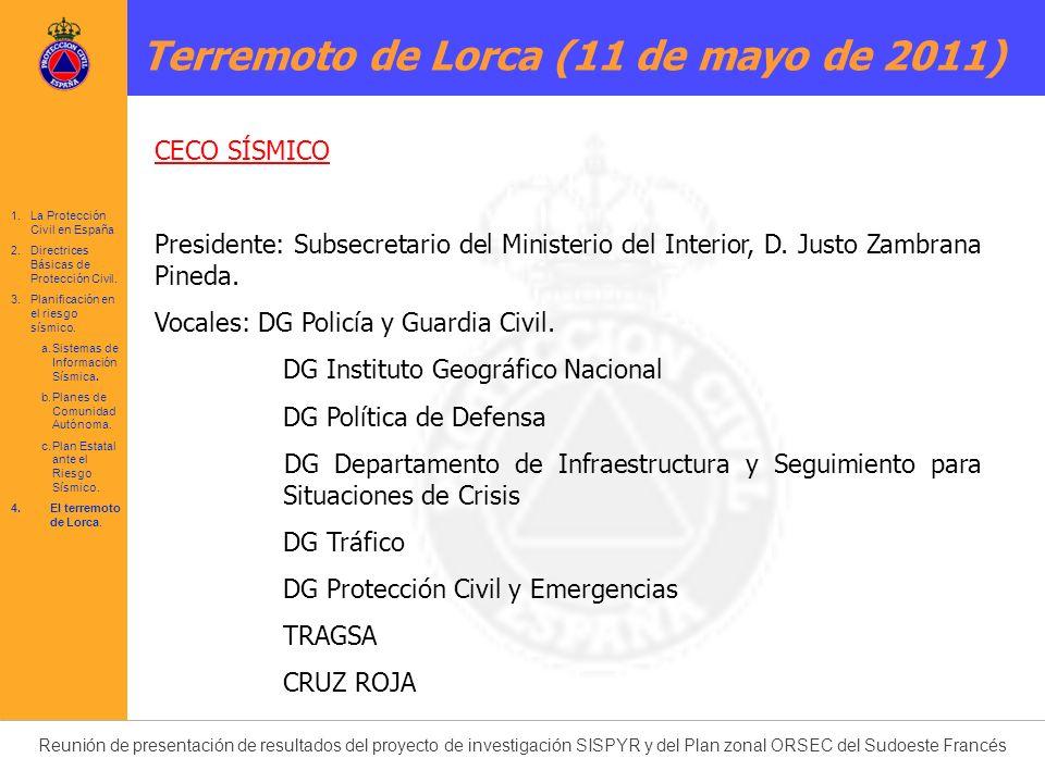 Reunión de presentación de resultados del proyecto de investigación SISPYR y del Plan zonal ORSEC del Sudoeste Francés CECO SÍSMICO Presidente: Subsec