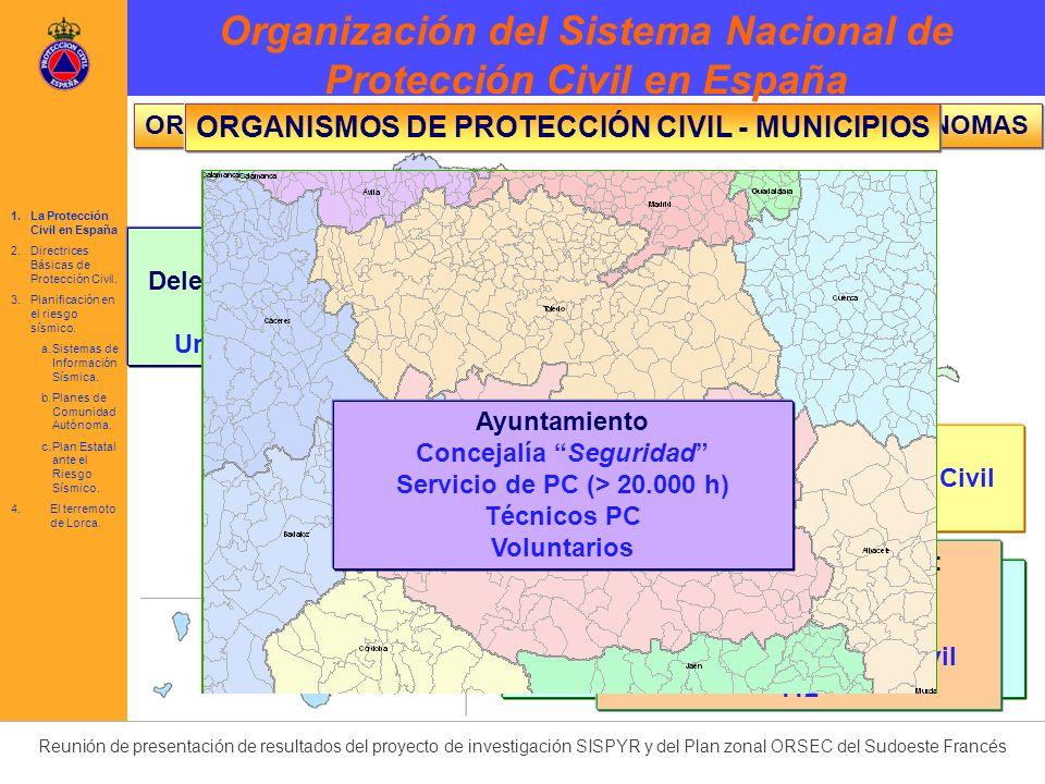 Reunión de presentación de resultados del proyecto de investigación SISPYR y del Plan zonal ORSEC del Sudoeste Francés Previsión Prevención Planificación Intervención Rehabilitación Ley 2/1985 Norma Básica (R.D.