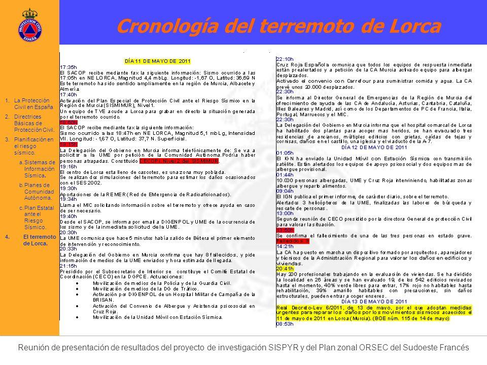 Cronología del terremoto de Lorca 1.La Protección Civil en España 2.Directrices Básicas de Protección Civil. 3.Planificación en el riesgo sísmico. a.S