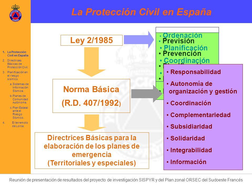 Reunión de presentación de resultados del proyecto de investigación SISPYR y del Plan zonal ORSEC del Sudoeste Francés 1.La Protección Civil en España 2.Directrices Básicas de Protección Civil.