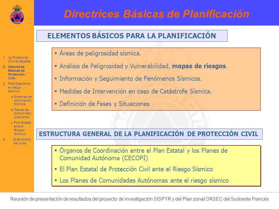 Reunión de presentación de resultados del proyecto de investigación SISPYR y del Plan zonal ORSEC del Sudoeste Francés Directriz Básica de Planificación de Protección Civil ante el Riesgo Sísmico (MODIFICACIÓN 2004) 1995 2004 2011 1.La Protección Civil en España 2.Directrices Básicas de Protección Civil.