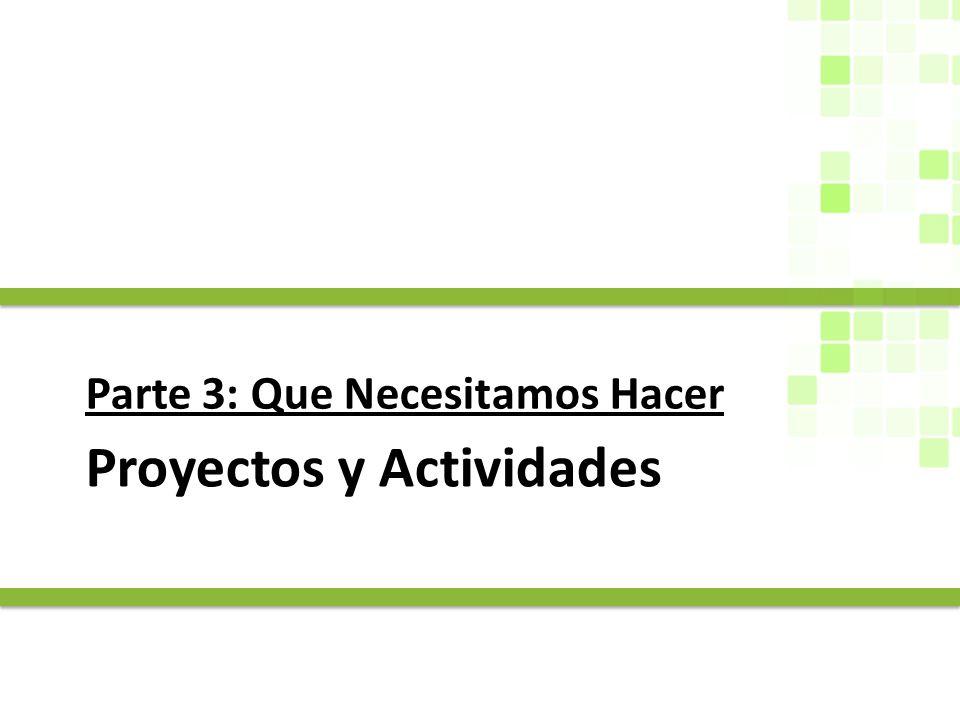 Proyectos y Actividades Parte 3: Que Necesitamos Hacer