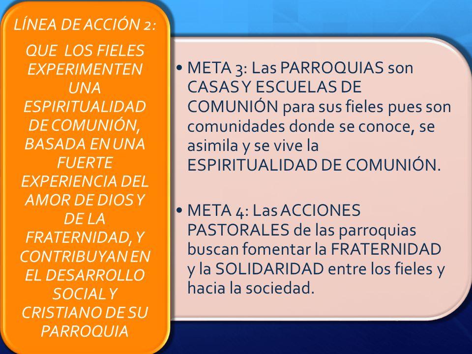 META 3: Las PARROQUIAS son CASAS Y ESCUELAS DE COMUNIÓN para sus fieles pues son comunidades donde se conoce, se asimila y se vive la ESPIRITUALIDAD D