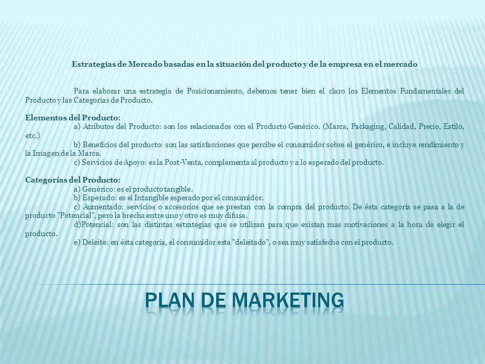 Estrategias de Mercado basadas en la situación del producto y de la empresa en el mercado Para elaborar una estrategia de Posicionamiento, debemos ten