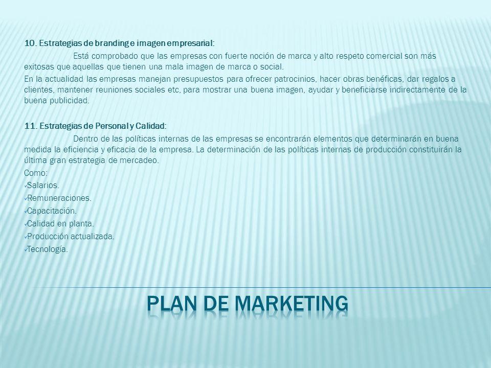 10. Estrategias de branding e imagen empresarial: Está comprobado que las empresas con fuerte noción de marca y alto respeto comercial son más exitosa
