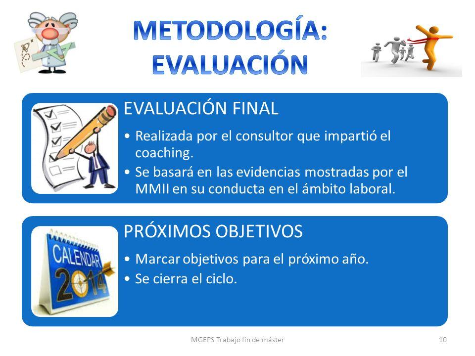 EVALUACIÓN FINAL Realizada por el consultor que impartió el coaching. Se basará en las evidencias mostradas por el MMII en su conducta en el ámbito la
