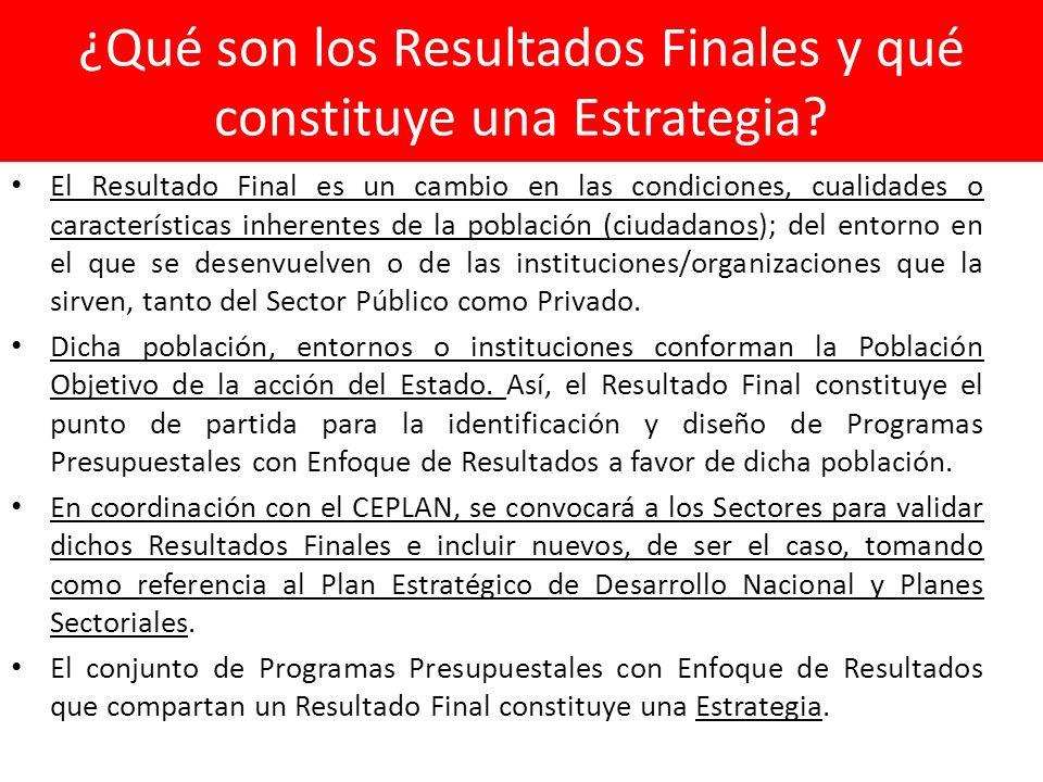 ¿Qué son los Resultados Finales y qué constituye una Estrategia? El Resultado Final es un cambio en las condiciones, cualidades o características inhe