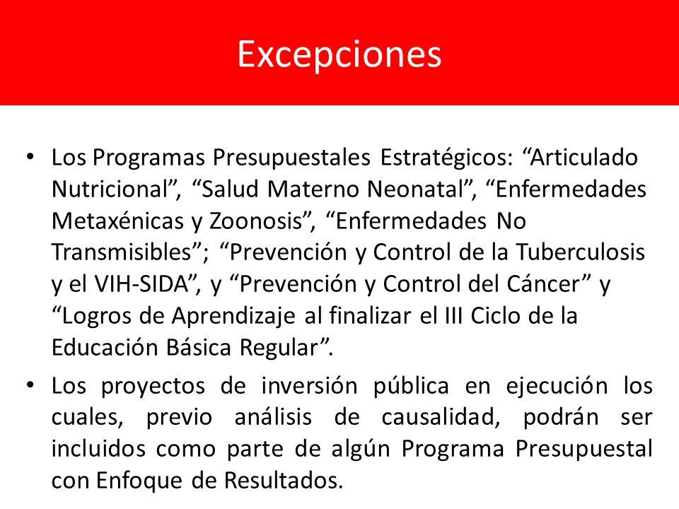 Excepciones Los Programas Presupuestales Estratégicos: Articulado Nutricional, Salud Materno Neonatal, Enfermedades Metaxénicas y Zoonosis, Enfermedad