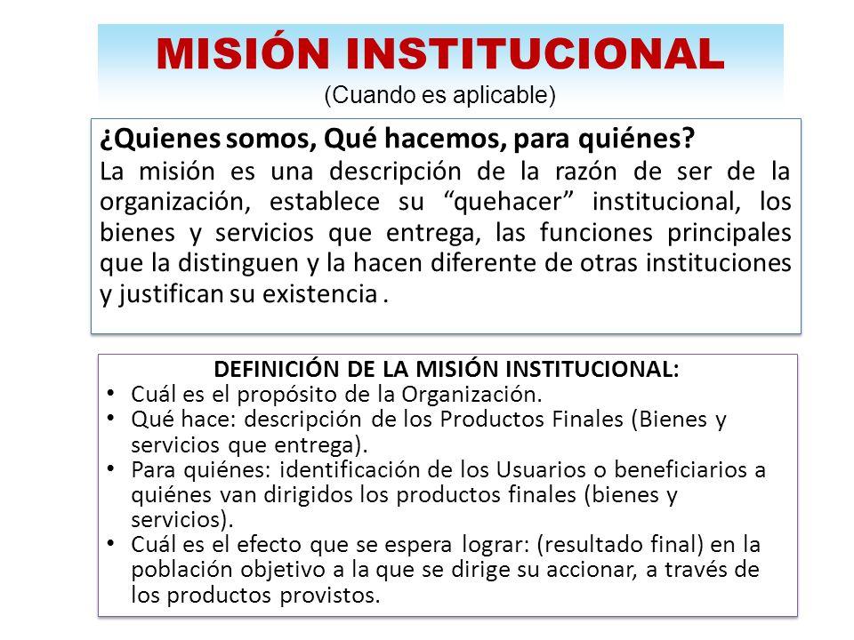 DEFINICIÓN DE LA MISIÓN INSTITUCIONAL: Cuál es el propósito de la Organización. Qué hace: descripción de los Productos Finales (Bienes y servicios que
