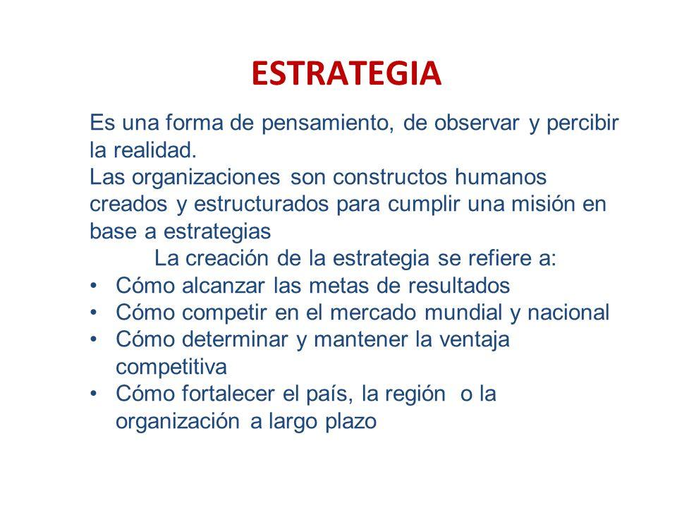 ESTRATEGIA Es una forma de pensamiento, de observar y percibir la realidad. Las organizaciones son constructos humanos creados y estructurados para cu