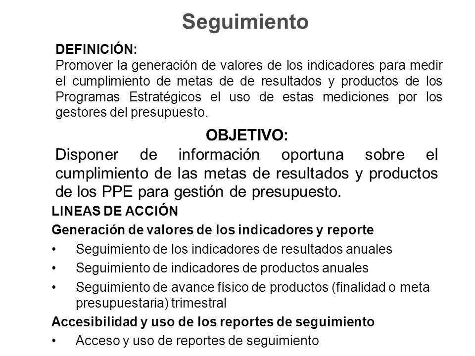 Seguimiento DEFINICIÓN: Promover la generación de valores de los indicadores para medir el cumplimiento de metas de de resultados y productos de los Programas Estratégicos el uso de estas mediciones por los gestores del presupuesto.