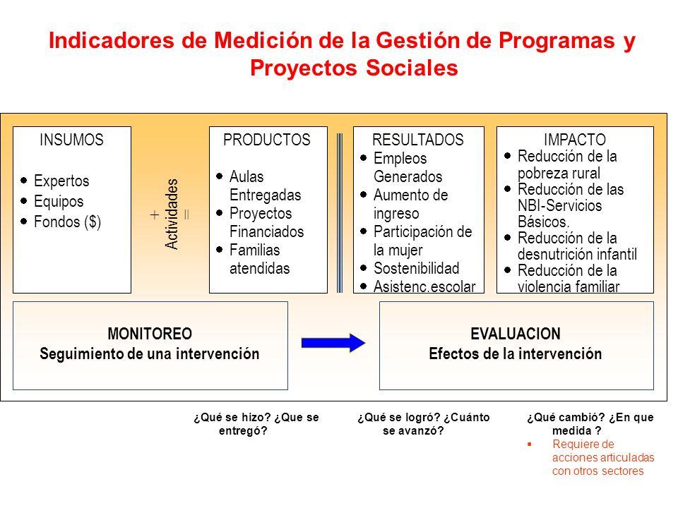 Indicadores de Medición de la Gestión de Programas y Proyectos Sociales INSUMOS Expertos Equipos Fondos ($) PRODUCTOS Aulas Entregadas Proyectos Finan