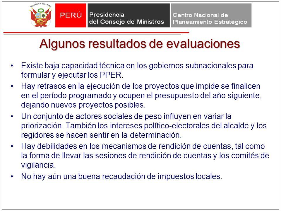 Algunos resultados de evaluaciones Existe baja capacidad técnica en los gobiernos subnacionales para formular y ejecutar los PPER. Hay retrasos en la
