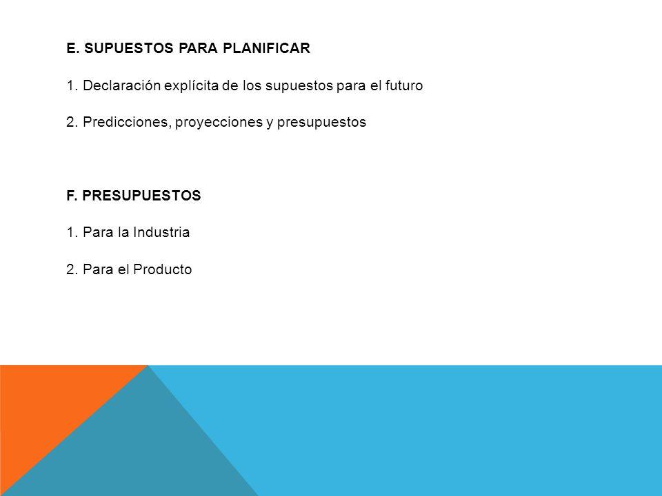 E. SUPUESTOS PARA PLANIFICAR 1. Declaración explícita de los supuestos para el futuro 2. Predicciones, proyecciones y presupuestos F. PRESUPUESTOS 1.