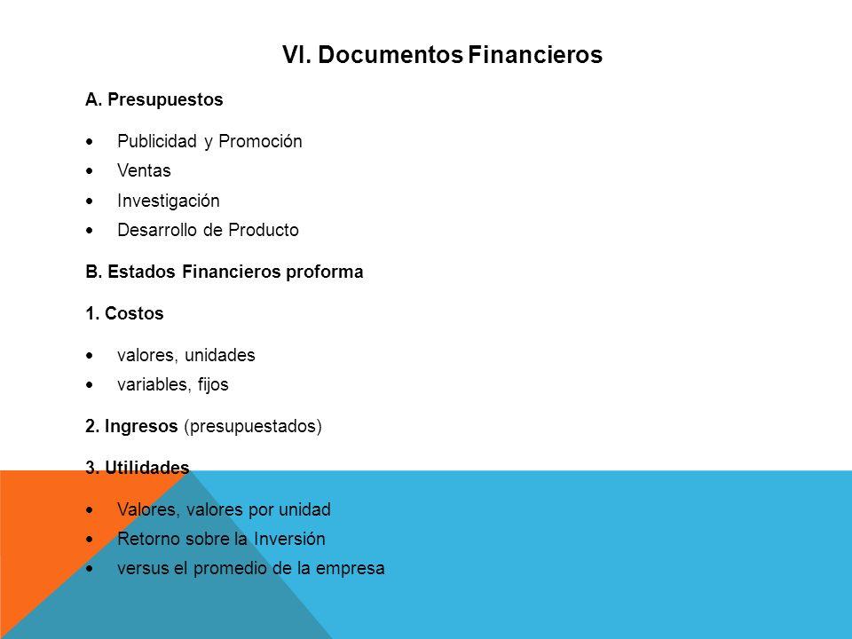 VI. Documentos Financieros A. Presupuestos Publicidad y Promoción Ventas Investigación Desarrollo de Producto B. Estados Financieros proforma 1. Costo