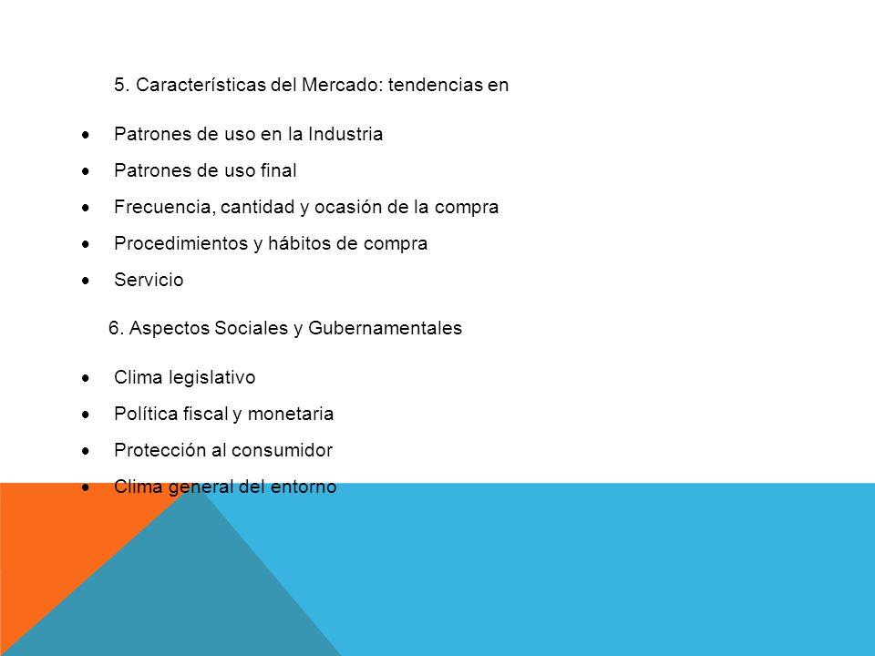 5. Características del Mercado: tendencias en Patrones de uso en la Industria Patrones de uso final Frecuencia, cantidad y ocasión de la compra Proced