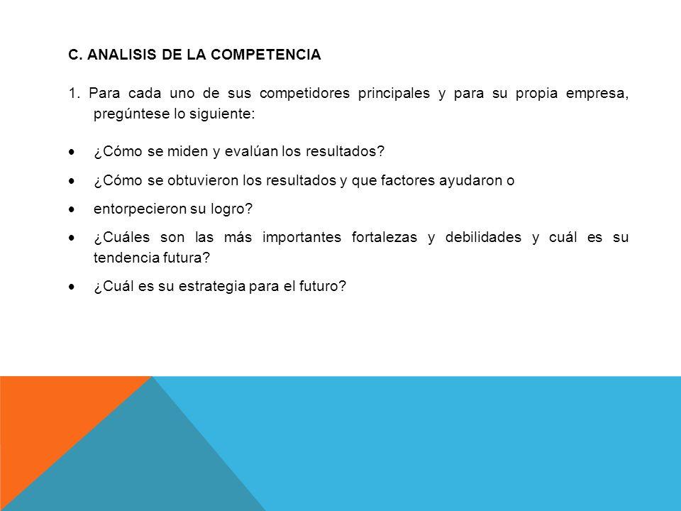 C. ANALISIS DE LA COMPETENCIA 1. Para cada uno de sus competidores principales y para su propia empresa, pregúntese lo siguiente: ¿Cómo se miden y eva