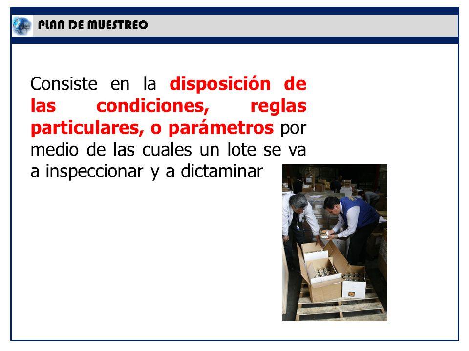 PLAN DE MUESTREO Consiste en la disposición de las condiciones, reglas particulares, o parámetros por medio de las cuales un lote se va a inspeccionar y a dictaminar