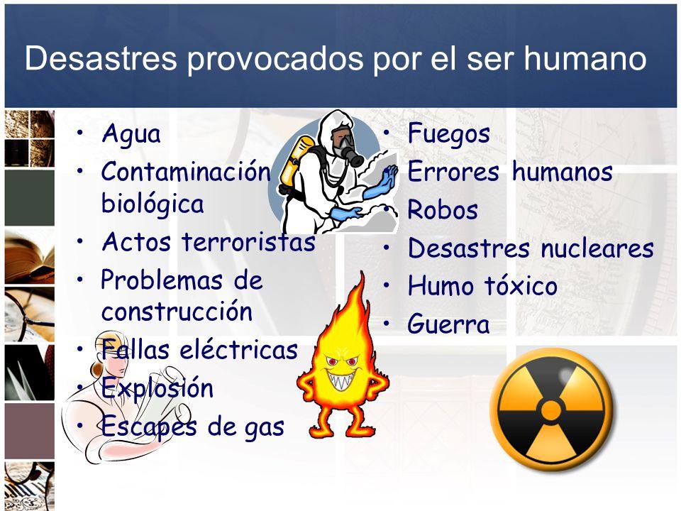 Desastres provocados por el ser humano Agua Contaminación biológica Actos terroristas Problemas de construcción Fallas eléctricas Explosión Escapes de