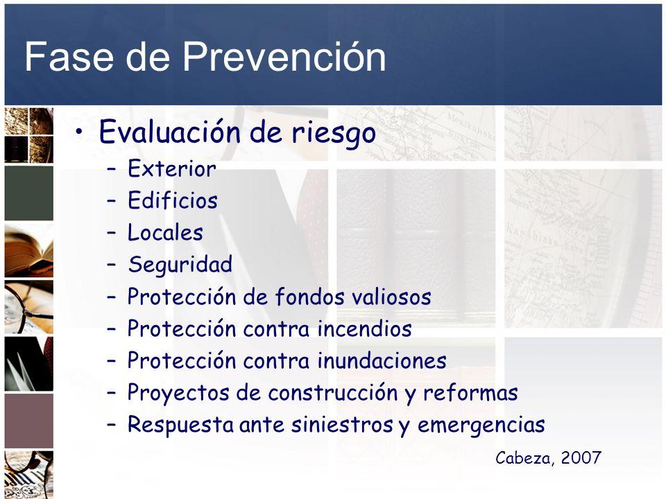 Fase de Prevención Evaluación de riesgo –Exterior –Edificios –Locales –Seguridad –Protección de fondos valiosos –Protección contra incendios –Protecci