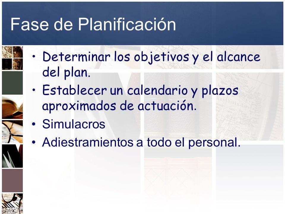 Fase de Planificación Determinar los objetivos y el alcance del plan. Establecer un calendario y plazos aproximados de actuación. Simulacros Adiestram