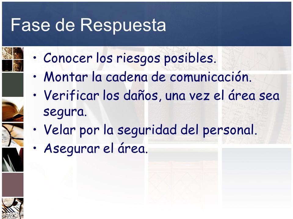 Fase de Respuesta Conocer los riesgos posibles. Montar la cadena de comunicación. Verificar los daños, una vez el área sea segura. Velar por la seguri