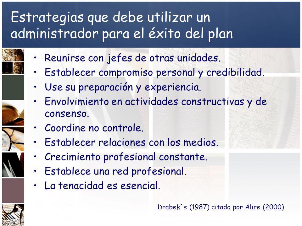 Estrategias que debe utilizar un administrador para el éxito del plan Reunirse con jefes de otras unidades. Establecer compromiso personal y credibili