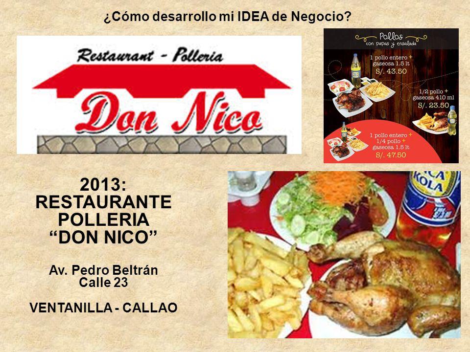 ¿Cómo desarrollo mi IDEA de Negocio? 2013: RESTAURANTE POLLERIA DON NICO Av. Pedro Beltrán Calle 23 VENTANILLA - CALLAO
