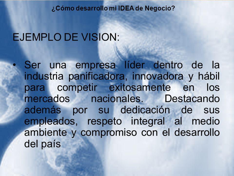 EJEMPLO DE VISION: Ser una empresa líder dentro de la industria panificadora, innovadora y hábil para competir exitosamente en los mercados nacionales