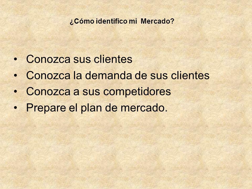 Conozca sus clientes Conozca la demanda de sus clientes Conozca a sus competidores Prepare el plan de mercado. ¿Cómo identifico mi Mercado?