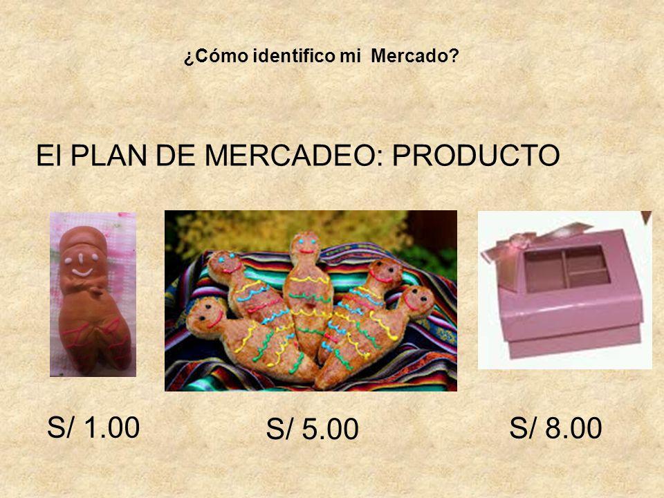 El PLAN DE MERCADEO: PRODUCTO ¿Cómo identifico mi Mercado? S/ 1.00 S/ 5.00 S/ 8.00