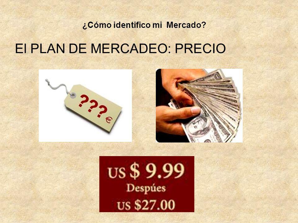 El PLAN DE MERCADEO: PRECIO ¿Cómo identifico mi Mercado?
