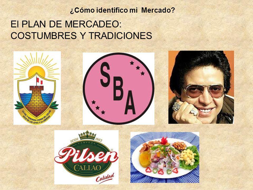 El PLAN DE MERCADEO: COSTUMBRES Y TRADICIONES ¿Cómo identifico mi Mercado?