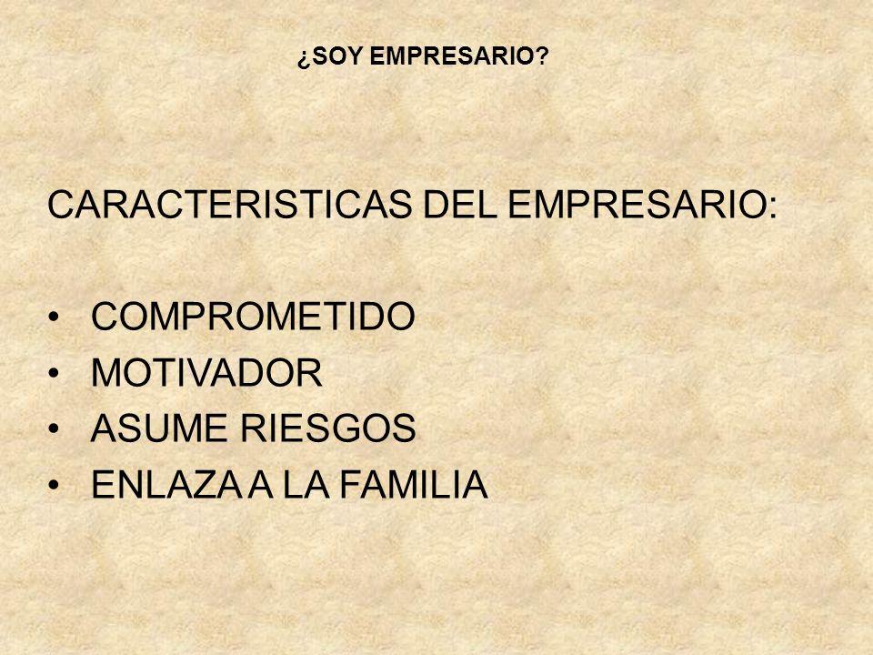 CARACTERISTICAS DEL EMPRESARIO: COMPROMETIDO MOTIVADOR ASUME RIESGOS ENLAZA A LA FAMILIA