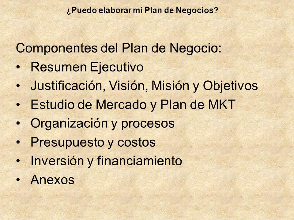 Componentes del Plan de Negocio: Resumen Ejecutivo Justificación, Visión, Misión y Objetivos Estudio de Mercado y Plan de MKT Organización y procesos