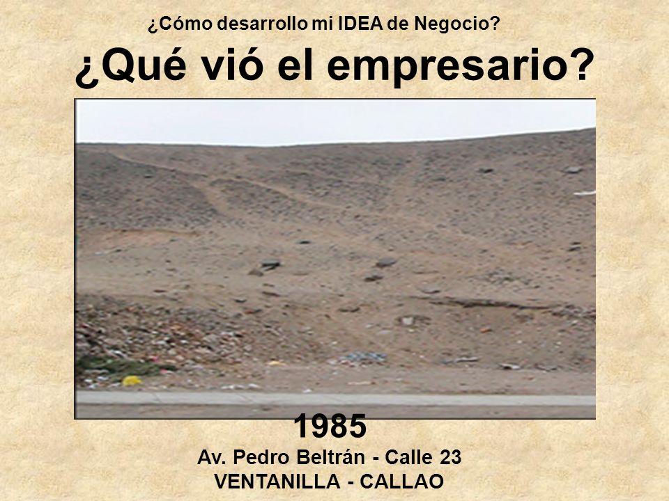 ¿Cómo desarrollo mi IDEA de Negocio? ¿Qué vió el empresario? 1985 Av. Pedro Beltrán - Calle 23 VENTANILLA - CALLAO