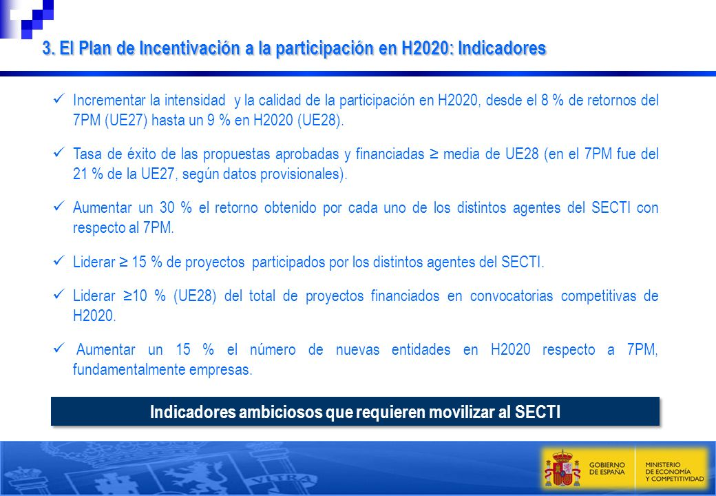 Indicadores ambiciosos que requieren movilizar al SECTI Incrementar la intensidad y la calidad de la participación en H2020, desde el 8 % de retornos