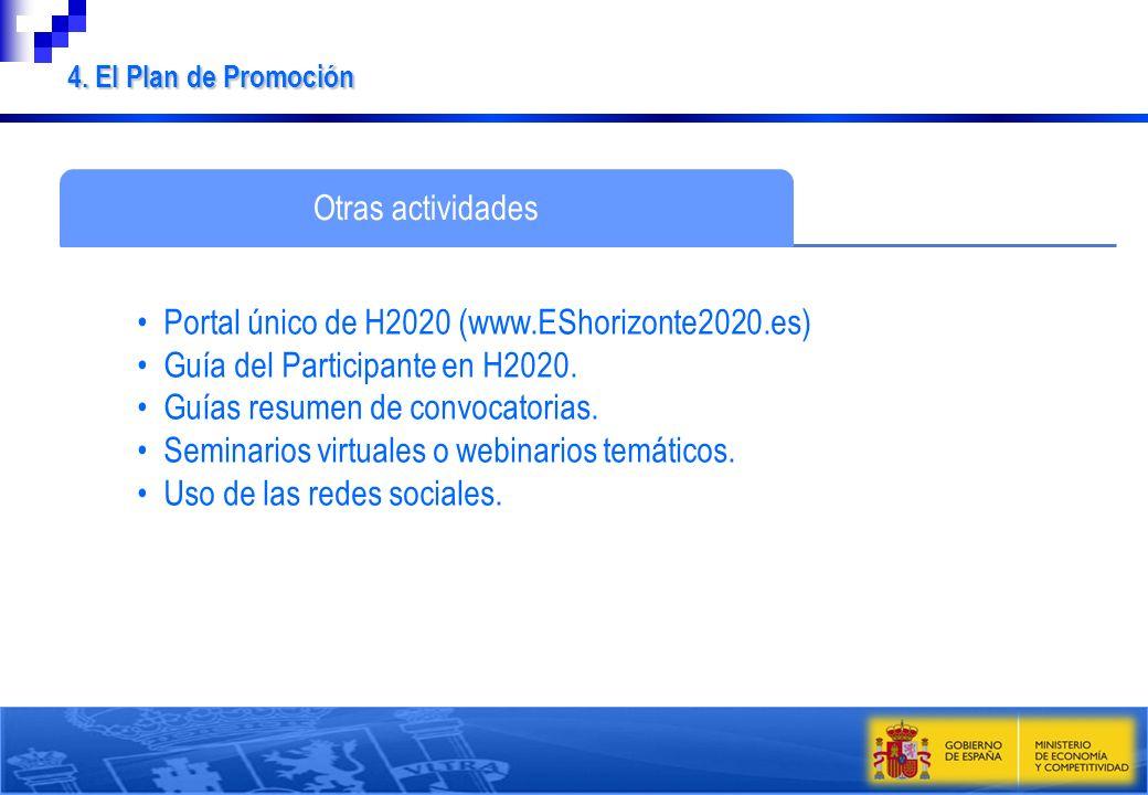 Otras actividades Portal único de H2020 (www.EShorizonte2020.es) Guía del Participante en H2020. Guías resumen de convocatorias. Seminarios virtuales