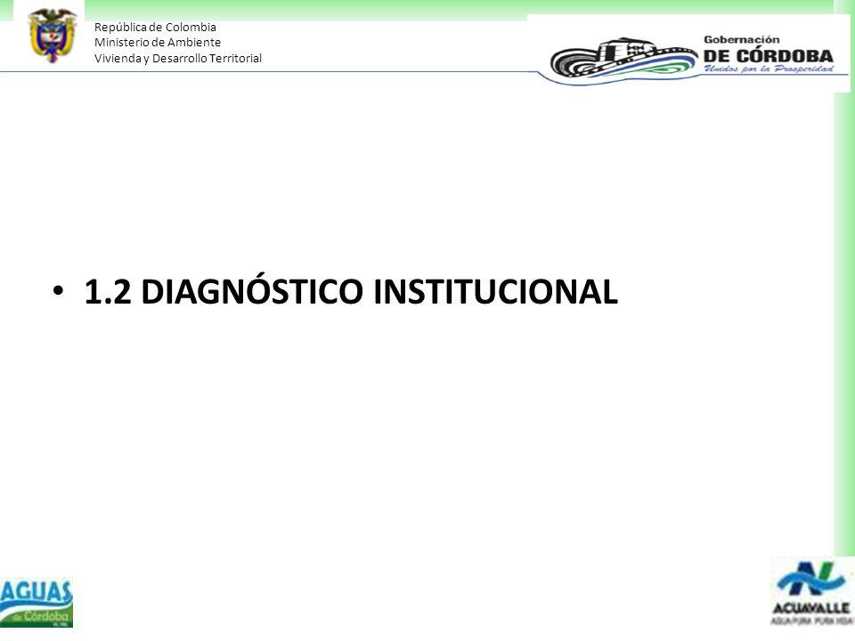 República de Colombia Ministerio de Ambiente Vivienda y Desarrollo Territorial 1.2 DIAGNÓSTICO INSTITUCIONAL