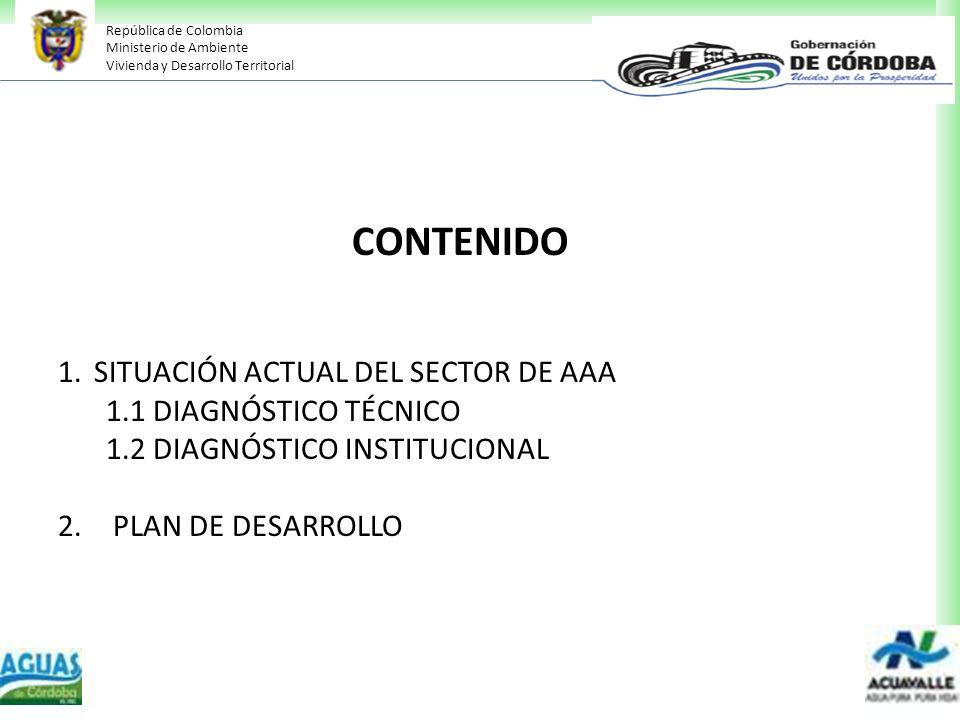 República de Colombia Ministerio de Ambiente Vivienda y Desarrollo Territorial CONTENIDO 1.SITUACIÓN ACTUAL DEL SECTOR DE AAA 1.1 DIAGNÓSTICO TÉCNICO