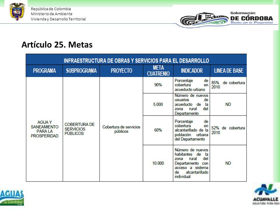 República de Colombia Ministerio de Ambiente Vivienda y Desarrollo Territorial Artículo 25. Metas