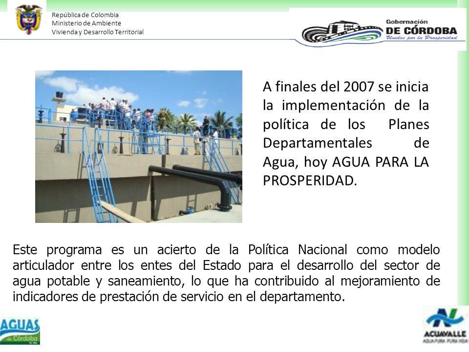 República de Colombia Ministerio de Ambiente Vivienda y Desarrollo Territorial Este programa es un acierto de la Política Nacional como modelo articul