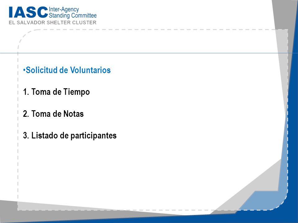 OBJETIVOS DE LA REUNIÓN General Establecer los primeros pasos para formular el Plan de acciones para Emergencia del Sector Shelter & NFI´s para responder adecuada y oportunamente ante las siguientes emergencias.