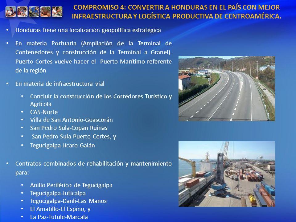 COMPROMISO 4: CONVERTIR A HONDURAS EN EL PAÍS CON MEJOR INFRAESTRUCTURA Y LOGÍSTICA PRODUCTIVA DE CENTROAMÉRICA. Honduras tiene una localización geopo