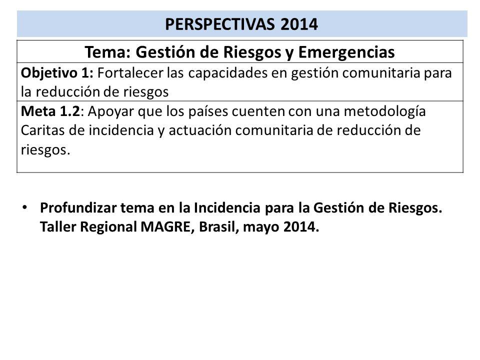 PERSPECTIVAS 2014 Tema: Gestión de Riesgos y Emergencias Objetivo 1: Fortalecer las capacidades en gestión comunitaria para la reducción de riesgos Me