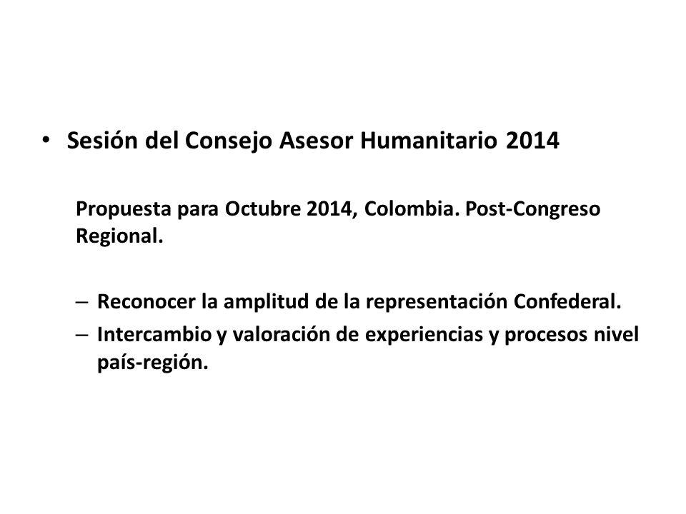 Sesión del Consejo Asesor Humanitario 2014 Propuesta para Octubre 2014, Colombia. Post-Congreso Regional. – Reconocer la amplitud de la representación