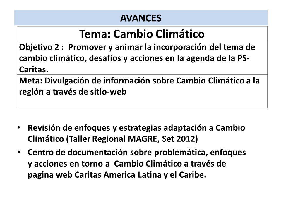 Revisión de enfoques y estrategias adaptación a Cambio Climático (Taller Regional MAGRE, Set 2012) Centro de documentación sobre problemática, enfoque