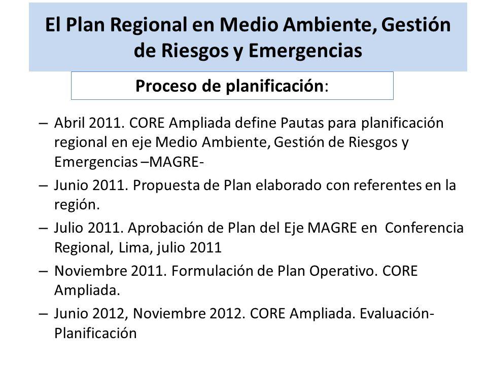 El Plan Regional en Medio Ambiente, Gestión de Riesgos y Emergencias – Abril 2011. CORE Ampliada define Pautas para planificación regional en eje Medi