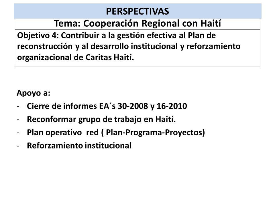 Apoyo a: -Cierre de informes EA´s 30-2008 y 16-2010 -Reconformar grupo de trabajo en Haití. -Plan operativo red ( Plan-Programa-Proyectos) -Reforzamie